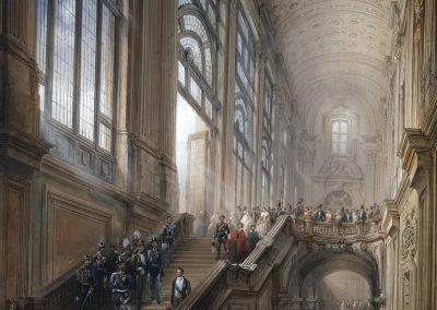 Bossoli-Re Vittorio Emanuele II, Cavour, i Ministri e la Corte scendono lo scalone di Palazzo_25cm-300dpi